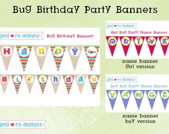 Bug Birthday Party printable Banners - Personalized!