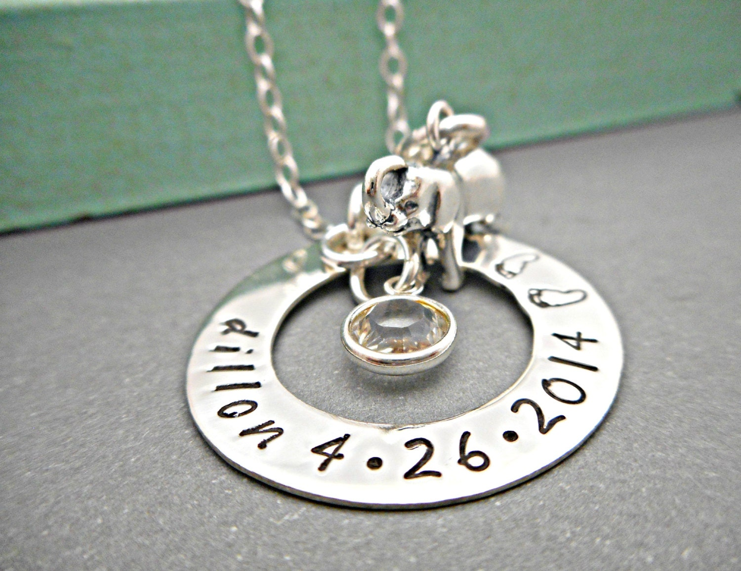 baby name necklace baby birthdate baby by organicrustcreation