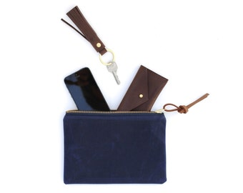 The Writer's Pouch in NAVY  //  waxed canvas pouch purse bag