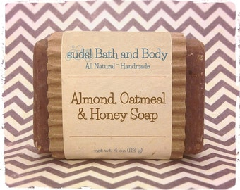 Almond Oatmeal & Honey Soap - All Natural Soap, Handmade Soap, Exfoliating Soap, Oatmeal Soap, Gift Ideas for Her