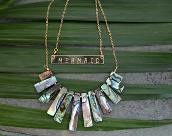 Mothers Day Gift - Abalone Fan Necklace - Statement Necklace