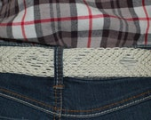 Vintage Macrame BoHo 70s Belt, Bohemian White Cord, Brass Buckle