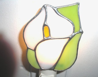 LT Stained glass Calla Lily night light lamp made with white opal, amber clear and lime green glass