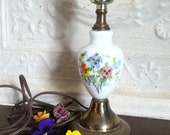 Lamp Milk Glass Hand Painted Pansies Patina Base Working Lamp