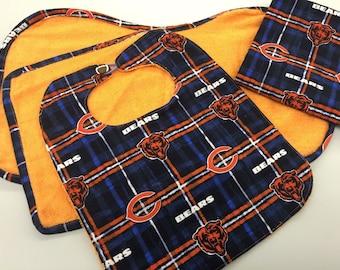 Chicago Bears Baby Bib/Washcloth/Burp Cloth/Receiving Blanket Set_Orange
