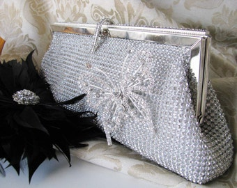 Rich Silver Satin Fabric Wedding Bag Clutch Formal Evening Bag covered Austrian Crystals