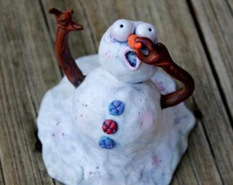 Melting Snowman Polymer Clay Sculpture