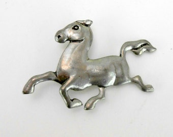 Vintage pewter horse brooch Seagull Pewter Canada horse brooch pewter pony brooch farm chic wildlife farm animal FFA dressage accessories