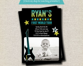 Rock Star Invitation - blue green   Rock Star Invite   Guitar Invitation   Rock Star Party Printables