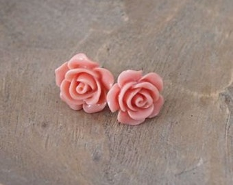 Sterling Silver Pink Rose Earrings