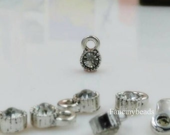 Big sale-5mm  glass stone charms --F1398 -50 pcs-with steady prong