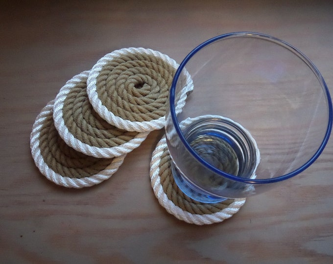 Set of 4 Rope Coasters Nautical Decor Beach Coastal Rustic White Gold Non Slip Bottom 100 Eco Friendly