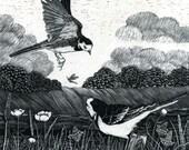 Art Card Wagtails by the Weir Scraperboard original design