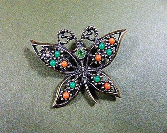Vintage Dark Silver Filigree Butterfly Brooch With Beads - BUT-46 - Filigree Brooch - Silver Filigree Brooch