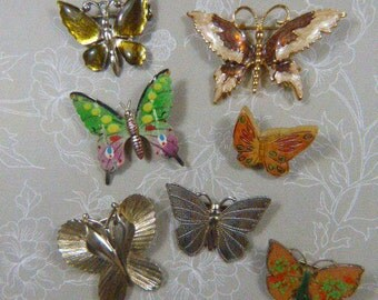SEVEN Sellable Vintage Butterfly Brooches Lot - BUT-93 - Gold Butterfly Brooch - Silver Butterfly Brooch - Silver Brooch