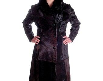 Sale Fabulous Vintage Coat in Pony Fur / 1970s Fur Coat / Brown Trench Coat 70s Provenance