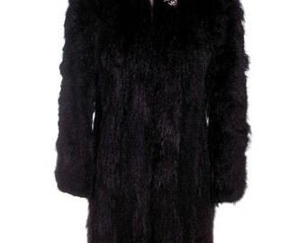 Ethereal Vintage Womens Coat Black Super Shiny Skunk Fur 1930s Big Shoulders Small