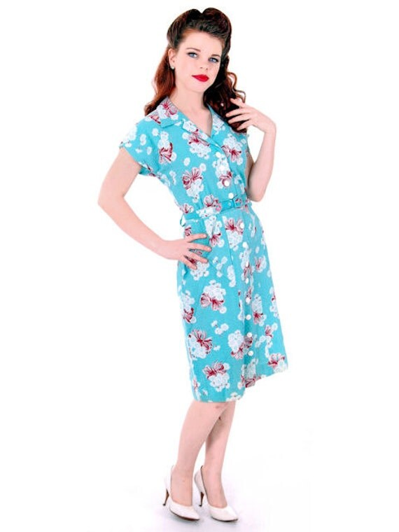 Sweet Vintage Seersucker Day Dress Turquoise Print Medium Early 1940s