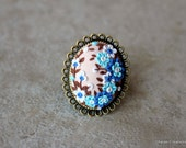 Lovely Polymer Clay Applique Ring in Beige and Blues