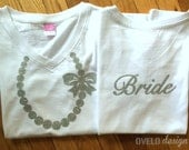 Bride T-shirt Silver Glitter Necklace on front and Bride on back