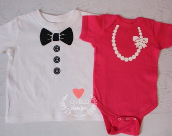 Tux with Dapper Dude on back Pearl Necklace with pretty in pink perfect in pearls on back for Twins or siblings