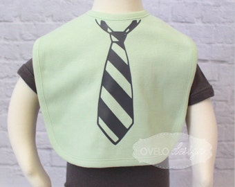 Tie Baby Bib Light Green  Bib and Charcoal Tie