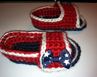 Baby Crocheted Sandals Flip Flops Shoes Size 0-3 / 3-6 Months Red, White & Blue 4th of July