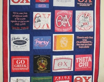 T-shirt Quilt With 20 blocks & custom embroidery