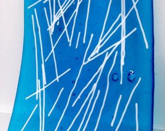 Turquoise Blue Handmade Glass Art Plate Contemporary Art Glass