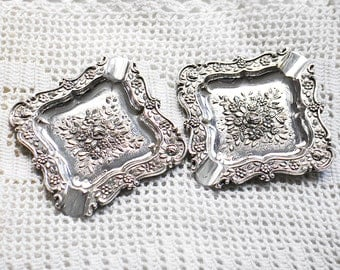 2 beautiful Vintage Sterling Silver ashtrays or plates
