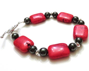 Red Magnesite Bracelet With Hematite Beads, Red Bracelet, Hematite Bracelet