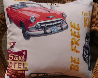 SALE - 18 inch pillow cover - cars pillow cover - cars cushion - classic car pillow - throw pillow - decor pillow - retro 50's pillow
