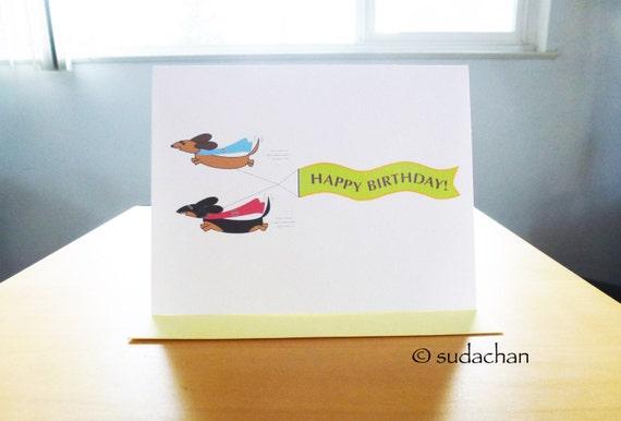 "Super Dachshunds Birthday Card  - Inside Message:  Wishing You A Super Birthday (4.25"" x 5.5"")"