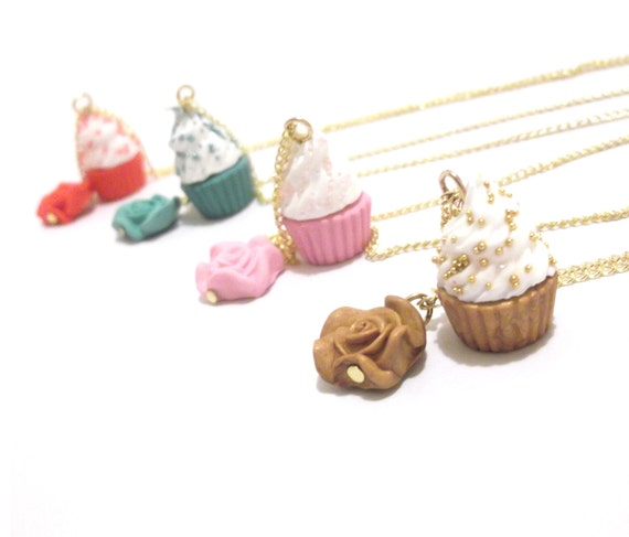 Cupcake Necklace Food Jewelry ( cupcake charm gold necklace cupcake pendant mini food jewelry miniature food polymer clay jewelry )
