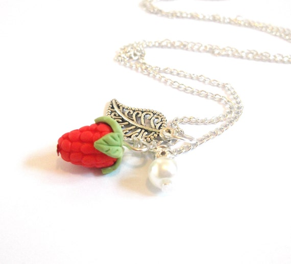Strawberry Necklace Fruit Necklace ( food necklace cute necklace gift for her polymer clay jewelry food jewelry red necklace mini food )