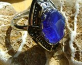 New Style ; Sea Glass Ring: Seaglass Jewellery Rare Blue
