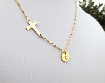 Personalized Sideways Cross Necklace. Gold Disc Necklace. Initial Disc and Cross Necklace. Gold Initial Disc Necklace.Personalized.Delicate
