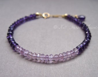 Amethyst Bracelet, February Birthstone Bracelet, Amethyst Gemstone Bracelet in Gold, 14K Gold Filled Purple Amethyst Jewelry