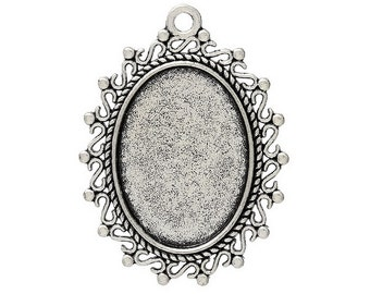Pendant Setting | Bezel : 10 Antique Silver Oval Cabochon Settings ... Holds 17.5mm x 24.5mm Cabochons or Cameos -- Lead & Nickel Free H4I