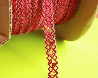 Dark Red beautiful embroidery Lace trim to altered your couture designs - bra straps - bra making