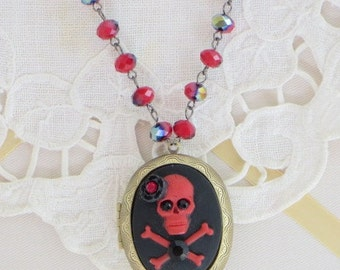 SKULL and Crossbones CAMEO LOCKET Necklace   - PiRATE Jewelry