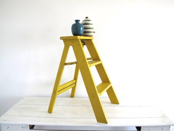 Yellow Step Ladder Vintage Wood Short Ladder By