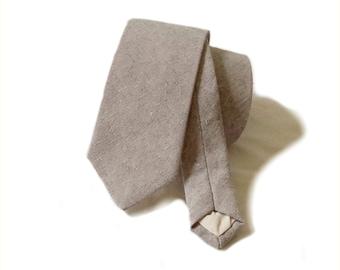 Linen necktie. Steel grey linen textured tie