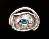 Pure Silver Evil Eye Pendant w/Faceted 8mm Sapphire Blue Zircon Talismans Malochio Jewish