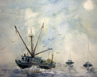 Original Watercolor Seascape Painting 12x16, watercolor painting art, landscape painting, fishing boat painting, nautical painting.