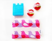 Mini Insulated Snack Bag -  Pink Birds