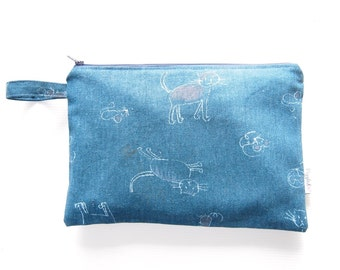 Medium Zippered Wet Bag Pouch / Nappy Wallet / Diaper Case / Makeup Bag with Waterproof Lining  - Cat and Mouse