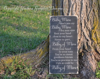 Baby Mine don't you cry Dumbo quote painted wood sign