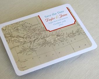 Caribbean Wedding Save the Date Postcard - Jamaica Bahamas Vintage Map - Destination Travel Theme - SAMPLE