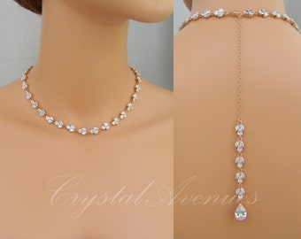 Rose Gold Backdrop Necklace, Crystal Bridal Necklace, Gold Wedding Necklace, Wedding necklace, Bridal Jewelry, Melonie Bridal Necklace